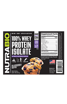NutraBio Whey Protein Isolate - To-Go Pack (Blueberry Muffin)