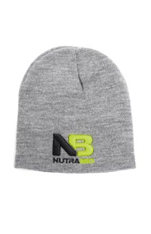 NutraBio NB Logo Beanie - Heather Gray (Black/Green Logo)