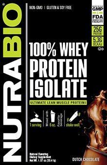 NutraBio Whey Protein Isolate - To-Go Pack (Dutch Chocolate)
