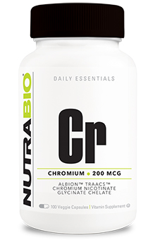 NutraBio Chromium Chelate GTF (200mcg) - 120 Vegetable Capsules