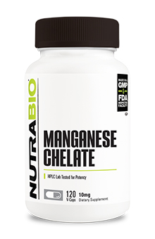 NutraBio Chelated Manganese - 120 Vegetable Capsules (10 mg)