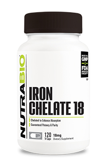 NutraBio Chelated Iron (18mg) - 120 Vegetable Capsules