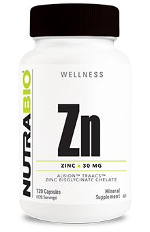 NutraBio Chelated Zinc (30mg) - 120 Vegetable Capsules