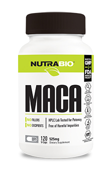 NutraBio Maca (525mg) - 120 Vegetable Capsules