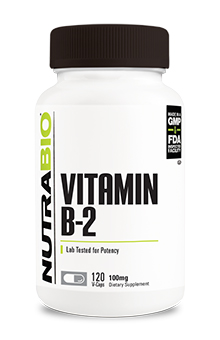 NutraBio Vitamin B-2 Riboflavin (100mg) - 120 Vegetable Capsules