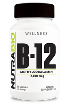 NutraBio Methyl B-12 (2000mcg) - 90 Vegetable Capsules