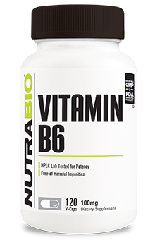 NutraBio Vitamin B-6 (100mg) - 120 Vegetable Capsules