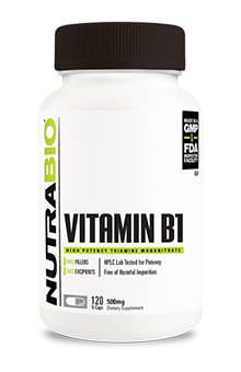 NutraBio Vitamin B-1 (500mg) - 120 Vegetable Capsules