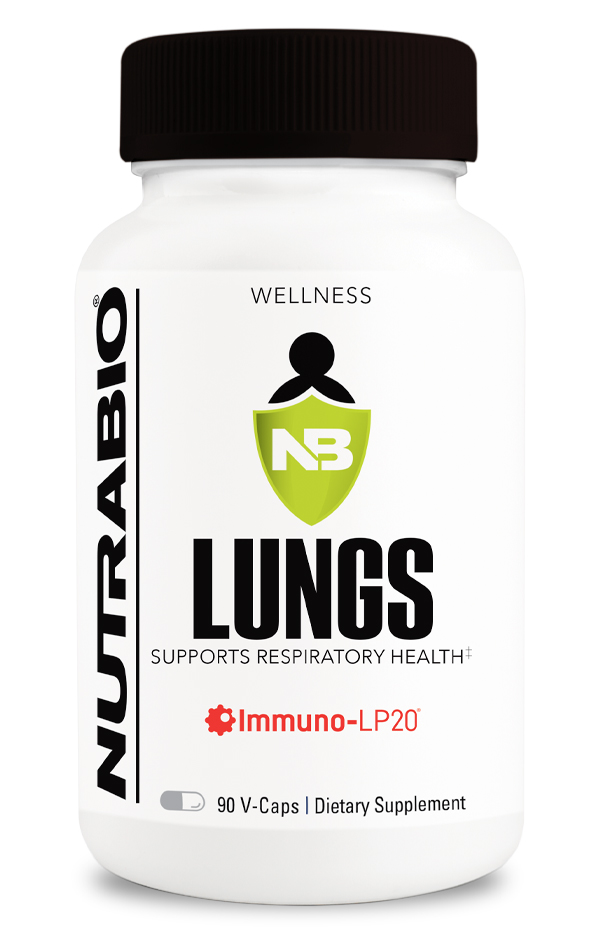 Bottle of the NutraBio Lungs Supplement