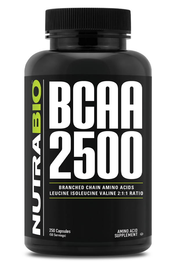 NutraBio BCAA 2500 - 250 Vegetable Capsules