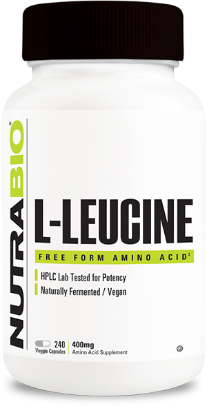 Image of NutraBio Leucine 400mg - 240 Vegetable Capsules