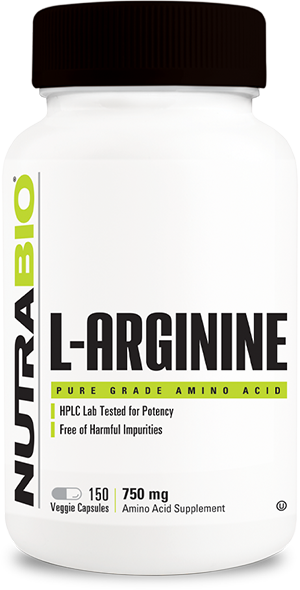 Image of NutraBio Arginine (750mg) - 150 Vegetable Capsules