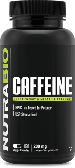 Image of NutraBio Caffeine (200mg) - 150 Vegetable Capsules