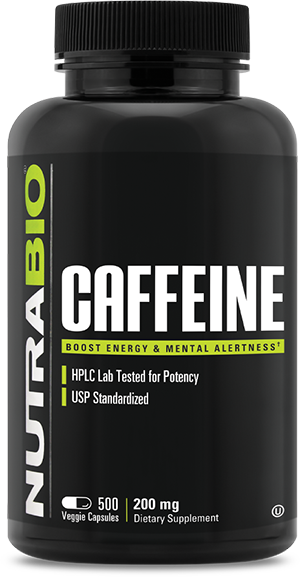 Image of NutraBio Caffeine (200mg) - 500 Vegetable Capsules