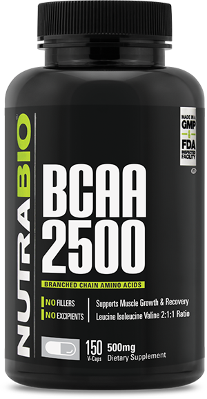 Image of NutraBio BCAA 2500 - 150 Vegetable Capsules