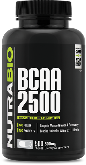 Image of NutraBio BCAA 2500 - 500 Vegetable Capsules