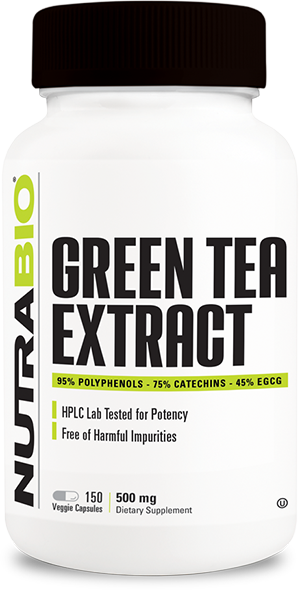 Image of NutraBio Green Tea Extract (500mg) - 150 Vegetable Capsules