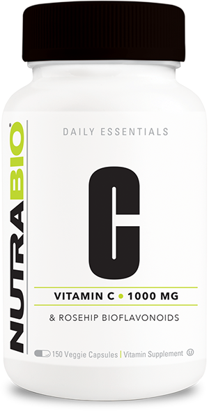 Image of NutraBio Vitamin C 1000mg with Rose Hips - 150 Vegetable Capsules