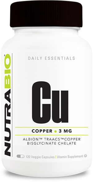 Image of NutraBio Copper Chelate (3 mg) - 120 Vegetable Capsules