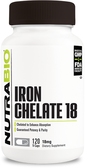 Image of NutraBio Chelated Iron (18mg) - 120 Vegetable Capsules