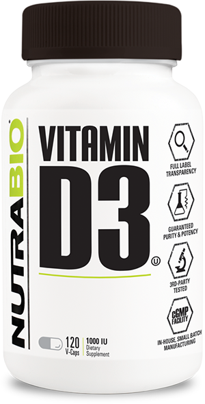 Image of NutraBio Vitamin D (1000 IU) - 120 Vegetable Capsules