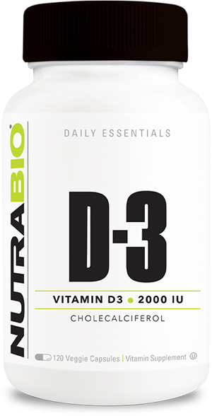 NutraBio Vitamin D (2000 IU) - 120 Vegetable Capsules