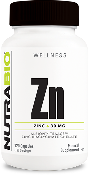 Image of NutraBio Chelated Zinc (30mg) - 120 Vegetable Capsules