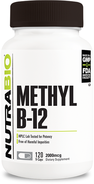 Image of NutraBio Methyl B-12 (2000mcg) - 120 Vegetable Capsules