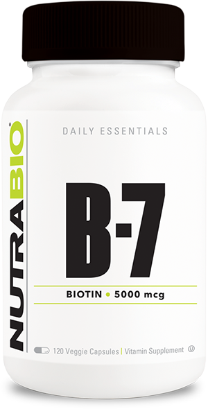 NutraBio Biotin (5000mcg) - 120 Vegetable Capsules