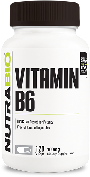 Image of NutraBio Vitamin B-6 (100mg) - 120 Vegetable Capsules