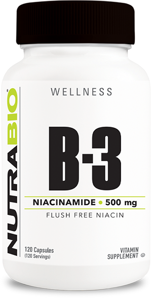 NutraBio Niacinamide (500mg) - 120 Vegetable Capsules