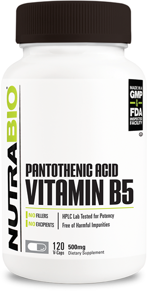 Image of NutraBio Pantothenic Acid (500mg) - 120 Vegetable Capsules